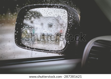 vintage tone of water drops on window after rain fall background.