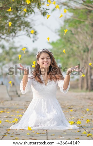 Vintage Tone Woman Relax And Happy Cosplay Princess - stock photo