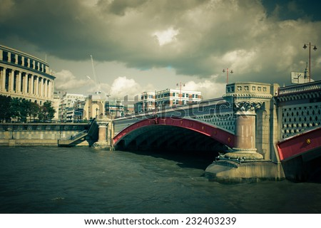 Vintage toned Blackfriars Bridge over the Thames in London  - stock photo