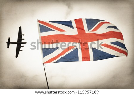 vintage toned bomber aircraft and British Union flag Battle of Britain concept - stock photo