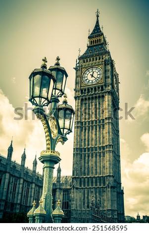 Vintage toned image of Big Ben, London - stock photo