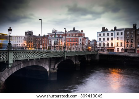 Vintage toned image of Grattan Bridge over the River Liffey in Dublin Ireland - stock photo