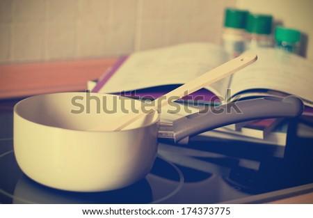 Vintage toned kitchen set, meal time concept - stock photo
