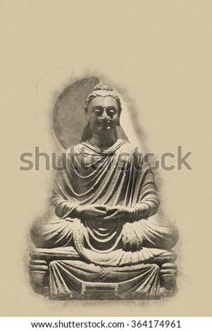 Vintage toned seated statue of Buddha with a grunge textured effect and copy space for your spiritual message - stock photo