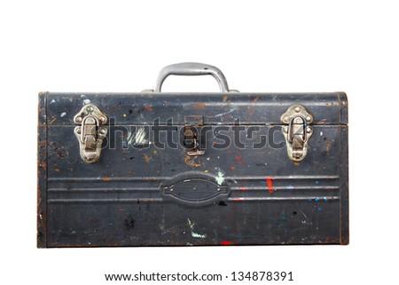 Vintage Tool Box distressed painted vintage metal tool box - stock photo