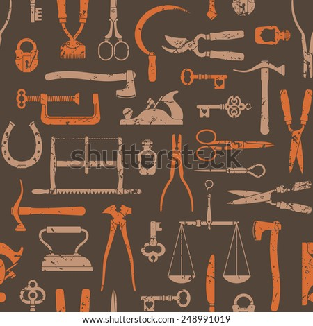 Vintage tools, instruments and equipment seamless pattern - stock photo
