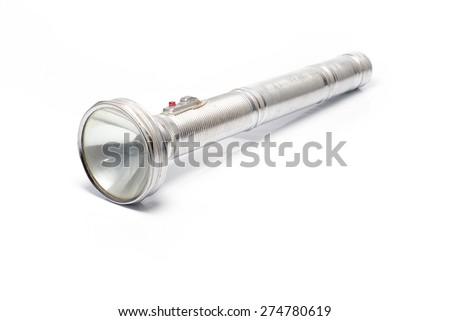 vintage torch isolated on white - stock photo