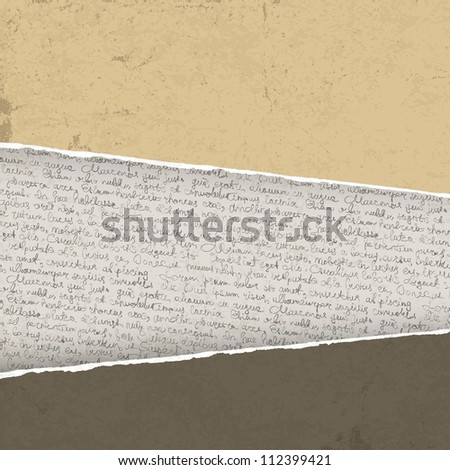 Vintage torn background with handwriting. Raster version, vector file available in portfolio. - stock photo