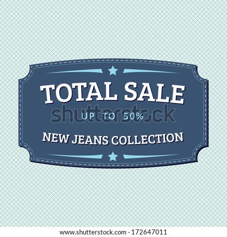 Vintage total sale badge, retro designed - stock photo
