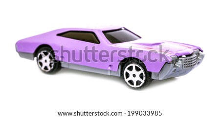 vintage toy car isolated on white  - stock photo