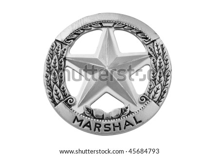 vintage toy deputy marshal star badge over white with a clipping path - stock photo