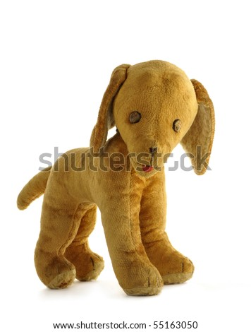 Vintage toy - dog, stuffed with straw, isolated on white background - stock photo