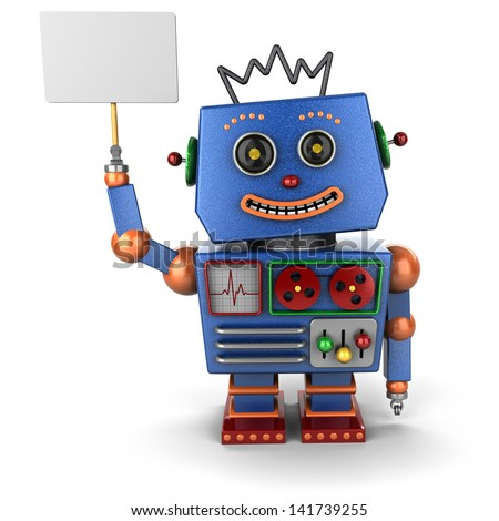 Vintage toy robot smiling and holding up a sign - stock photo