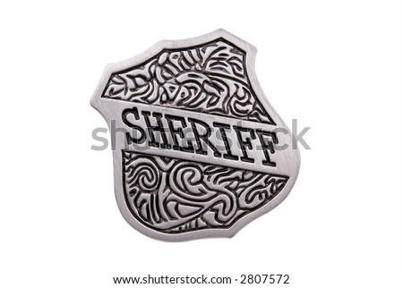 Vintage toy sheriffs badge over white with a clipping path - stock photo