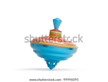 Vintage toy top spinning in motion - stock photo