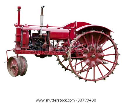 Vintage tractor Isolated on white - stock photo