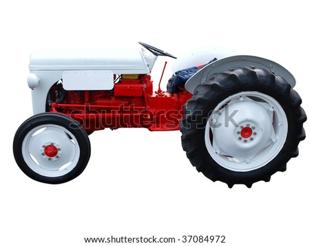 Vintage Tractor isolated with clipping path - stock photo