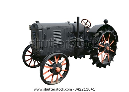vintage tractor on white background  - stock photo