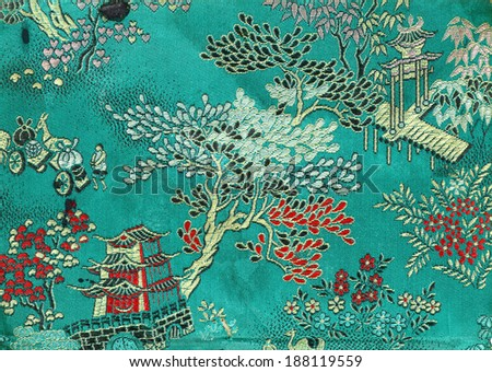 Vintage traditional oriental silk embroidery for textural background.  - stock photo