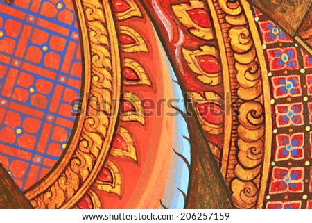 Vintage traditional Thai style art painting on temple for background - stock photo