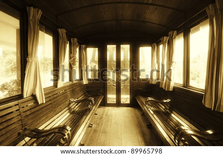 Vintage Train Salon Inside - stock photo