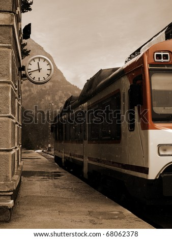 Vintage Train Station in Winter. Photo taken in the famous Canfranc railway station in Huesca, Spain, Huesca - stock photo