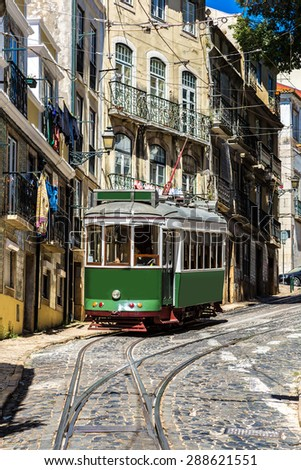 Vintage tram in the city center of Lisbon, Portugal - stock photo