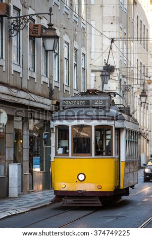 Vintage tram in the city center of Lisbon, Portugal. - stock photo