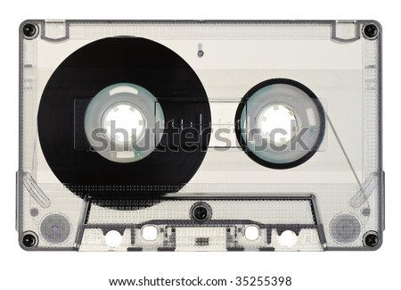Vintage Transparent Compact Cassette on white background - stock photo