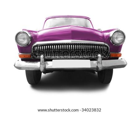 vintage transport. retro car isolated on white background - stock photo