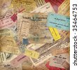 vintage travel background made of lots of old tickets, boarding passes, hotel reception cards and other documents - stock photo