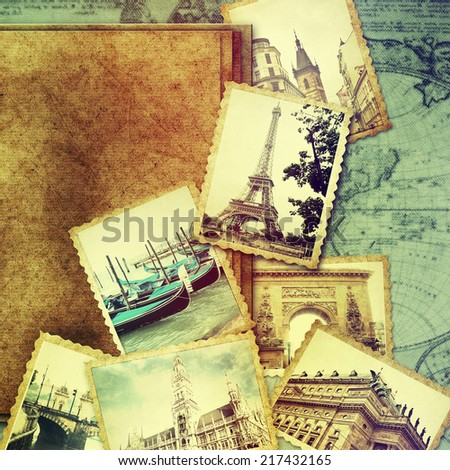 Vintage travel background with old photo.