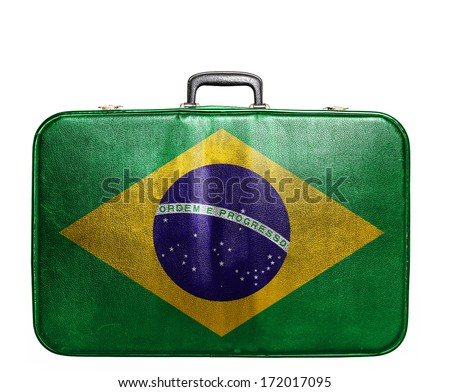 Vintage travel bag with flag of Brazil - stock photo