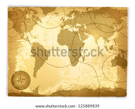 Vintage Travel Manuscript With Map and Compass Over White Background - stock photo