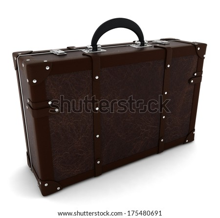 Vintage travel suitcase. 3d illustration on white background
