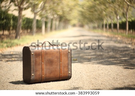 Vintage travel suitcase with wonderful swirly bokeh effect by Petzval lens.  - stock photo