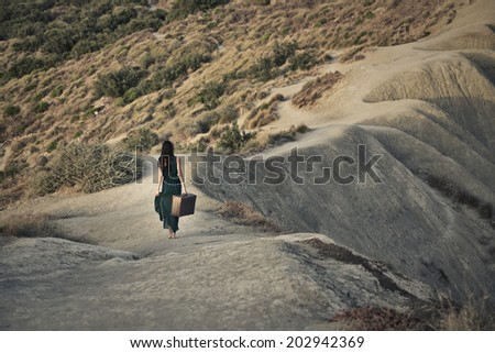 vintage traveler - stock photo