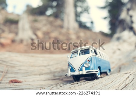 Vintage travelling van. Macro photo - stock photo