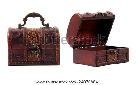 vintage treasure chest closeup on white - stock photo