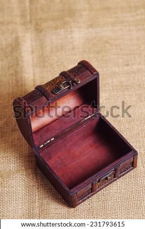 vintage treasure chest,shallow DOF - stock photo