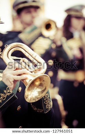 Vintage trombones playing in a big band. - stock photo