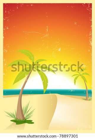 Vintage Tropical Beach Poster/ Illustration of a grunge travel poster background with palm trees in the summer