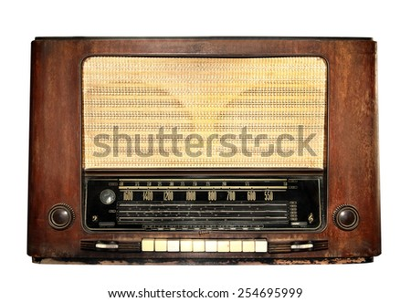 Vintage tube radio receiver pre world war model isolated on white with working path - stock photo
