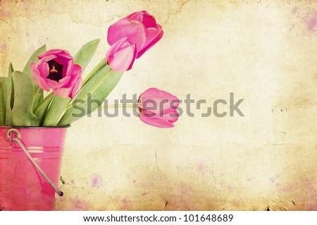 Vintage tulips - stock photo