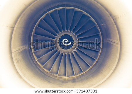 vintage turbine blades of aircraft jet engine  - stock photo