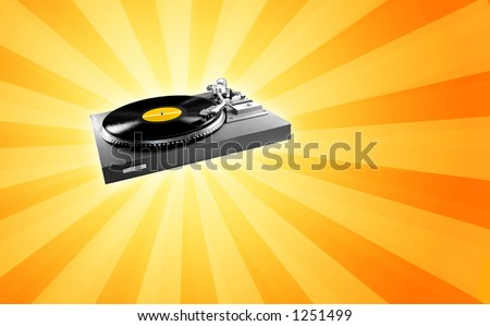 Vintage Turntable - check my portfolio for a version with a retro speaker. - stock photo