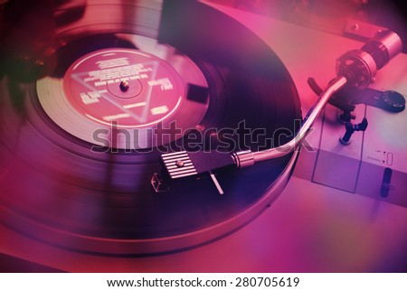Vintage turntable for vinyl LPs - stock photo