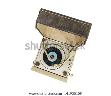 Vintage turntable record player box isolated with clipping path. - stock photo