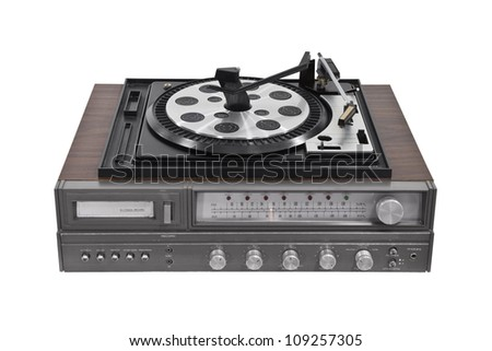Vintage turntable stereo receiver isolated with clipping path. - stock photo