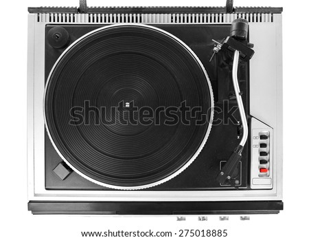 Vintage turntable vinyl record player close up - stock photo